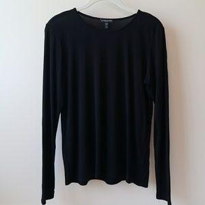 Eileen Fisher 100% Silk Long Sleeve Black Top